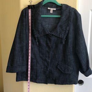 JM Collection 16 Denim Jacket Convertible Pockets